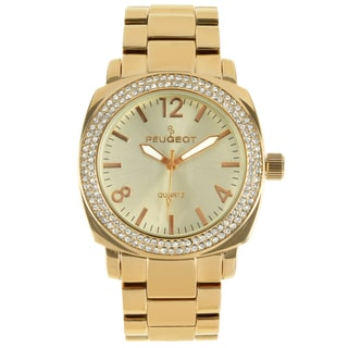 Peugeot Women's Gold-Tone Crystal Bracelet Link Watch