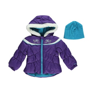 London Fog Girl's Winter Flower Insulated Jacket and Hat