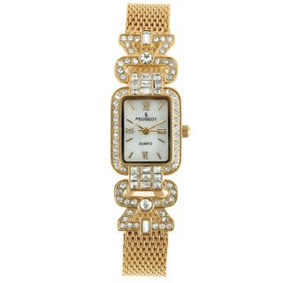 Peugeot Women's Crystal Bezel Gold-Tone Mesh Bracelet Watch