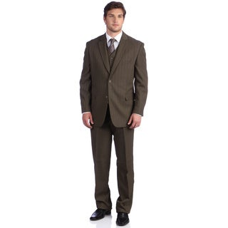 Lucelli Men's Mocha Serge Pin Stripes Vested 2-button Suit