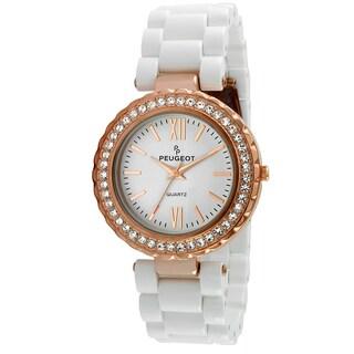 Peugeot Women's Rose Goldtone Crystal Bezel White Acrylic Watch