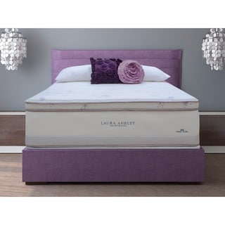 Laura Ashley Periwinkle Euro Pillowtop King-size Mattress and Foundation Set