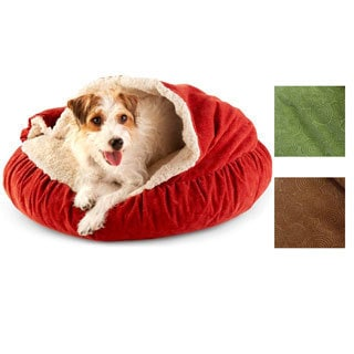 Spiro Embossed Micro Velvet Round Burrow Pet Bed