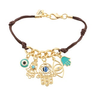 American Coin Treasures Brown Leather Hamsa Charm Bracelet