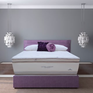 Laura Ashley Periwinkle Euro Pillowtop Super Size Twin-size Mattress and Foundation Set