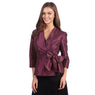 Alex Evenings Women's Sugar Plum Side-tie Peplum Blouse