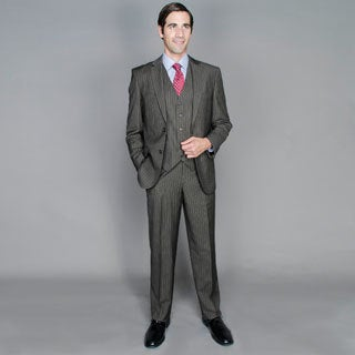 Men's Brown Stripe 2-button Vested Suit