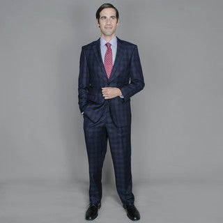 Giorgio Fiorelli Men's Navy Windowpane 2-button Suit
