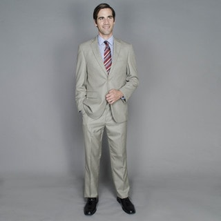 Men's Taupe Textured 2-button Suit