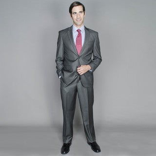 Men's Grey Stripe 2-button Suit