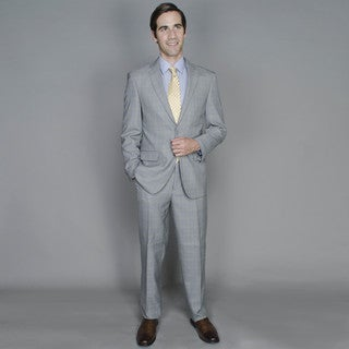 Men's Grey Windowpane Two-Button Suit with Four Interior Pockets