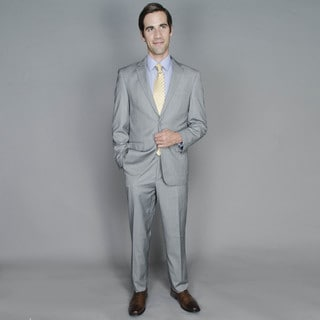Men's Light Grey Striped 2-button Suit