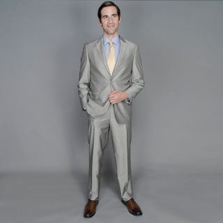 Men's Grey Sharkskin 2-button Suit