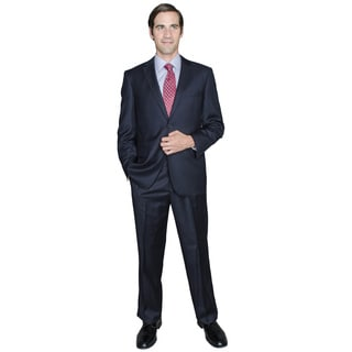 Bertolini Solid Navy 2-Button Wool and Silk Blend Suit