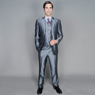 Carlo Lusso Slim Shiny Grey 2-Button Vested Suit