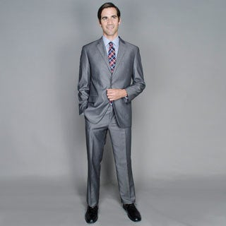Carlo Lusso Grey Sharkskin 2-Button Suit