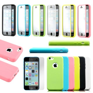 Gearonic Hybrid TPU Wrap Up Case w/ Built in Screen Protector For Apple iPhone 5C