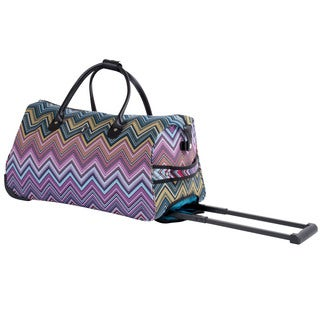 Calpak Soho Pink Chevron 21-inch Carry On Rolling Upright Duffel Bag