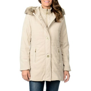 Fleet Street Women's Novelty Button Mole Skin Coat
