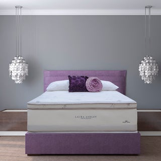 Laura Ashley Lavender Euro Pillowtop Twin-size Mattress and Foundation Set
