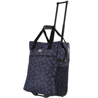 Calpak Big Eazy Blue Scatter Hearts 20-inch Washable Rolling Shopping Tote Bag