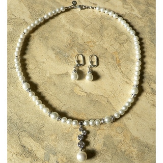 Rhodium over Brass Faux Pearl 'Snow Princess' Necklace and Earring Set
