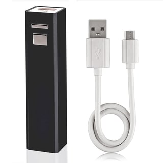 BasAcc Black Stamper Design USB Power Bank with Cable