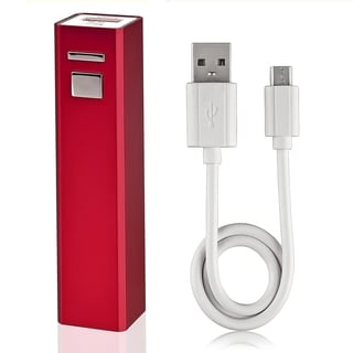 BasAcc Red Stamper Design USB Power Bank with Cable