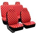 FH Group Red Polka Dots Car Seat Covers Front High Back Buckets and Solid Bench (Full Set)