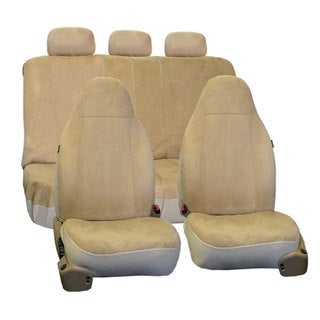 FH Group Beige Suede Car Seat Covers Front High Back Buckets and Split Bench (Full Set)