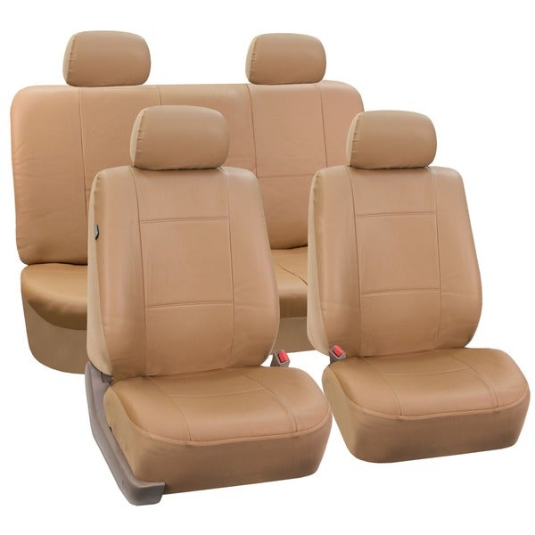 FH Group Tan PU Leather Car Seat Covers Front Low Back Buckets and Solid Bench (Full Set)