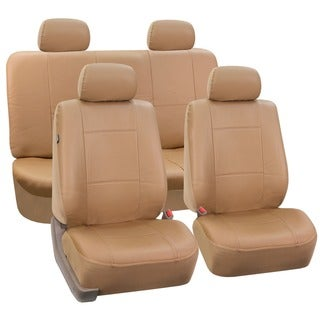 FH Group Tan PU Leather Front Low Back Buckets and Solid Bench Car Seat Covers (Full Set)