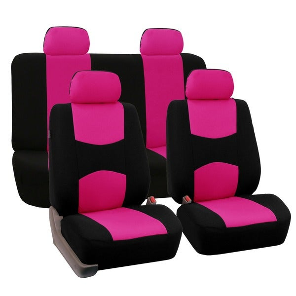 FH Group Pink Car Seat Covers for Front Low Back Buckets and Solid Bench (Full Set)