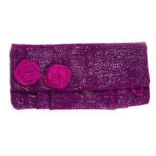 Handmade Upcycled Tape Clutch with Flower in Purple (India)
