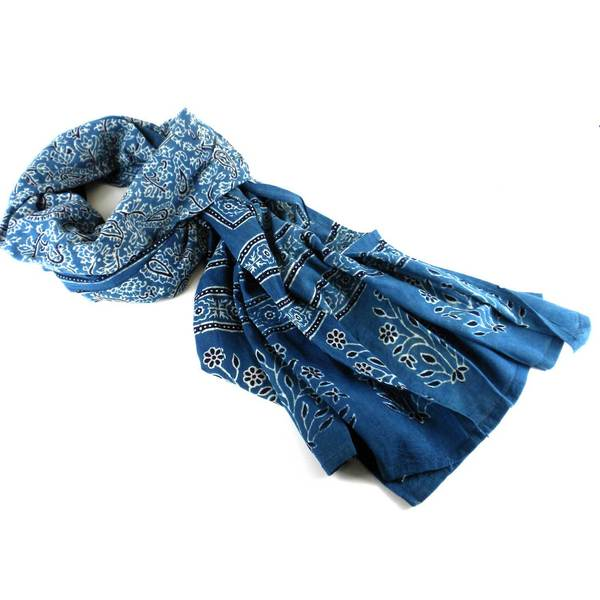Handmade Printed Cotton Voile Stole - Indigo (India)