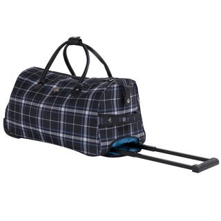Calpak Soho Black Plaid 21-inch Carry On Rolling Upright Duffel Bag