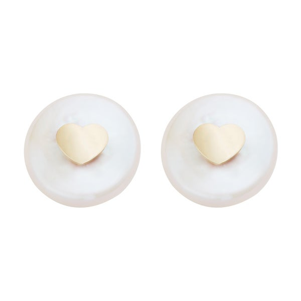 Pearlyta 14k Children White Freshwater Coin Pearl with Gold Heart Insert Stud Earrings with Gift Box