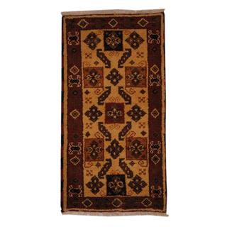Indo Hand-knotted Kazak 2'2 x 4' Red/ Ivory Wool Area Rug (India)