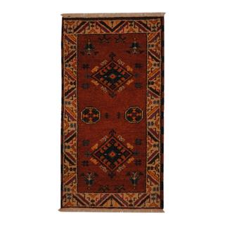 Indo Hand-knotted Kazak 2'2 x 4' Rust/ Ivory Wool Rug (India)