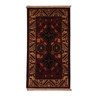Indo Hand-knotted Kazak 2'2 x 4' Ivory/ Burgundy Wool Area Rug (India)