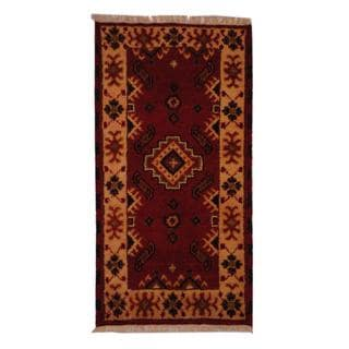 Indo Hand-knotted Kazak Traditional 2'2 x 4' Red Wool Area Rug (India)