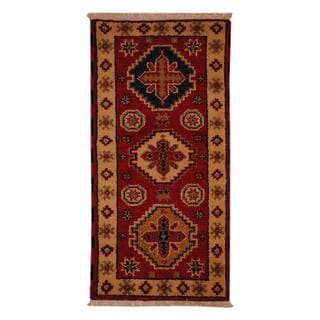 Indo Hand-knotted Kazak 2'2 x 4' Ivory Wool Area Rug (India)