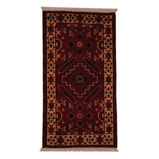 Indo Hand-knotted Kazak Classic 2'2 x 4' Red/ Ivory Wool Area Rug (India)