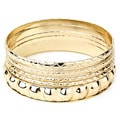West Coast Jewelry Goldtone Faceted Texture Stackable Bangle Set with Bonus Set
