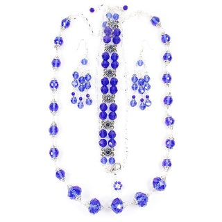 29-inch Blue Crystal Wedding Jewelry Set