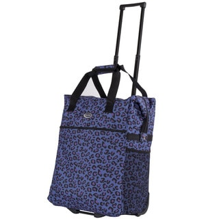 Calpak Big Eazy Purple Leo 20-inch Washable Rolling Shopping Tote Bag