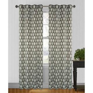 Hourglass Grey/Black 95 inch Curtain Panel Pair