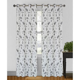 Marigold Floral Steel Grey Jacquard 95 inch Curtain Panel Pair
