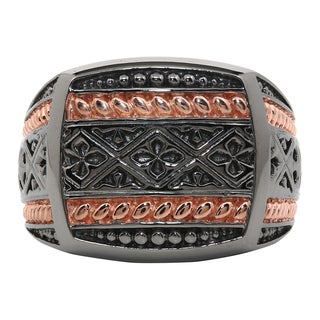 Sterling Silver Ring with Black Rhodium and Rose Ion Plating Accent