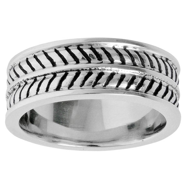 Stainless Steel Ring with Black Ionic Plating Ribbed Design